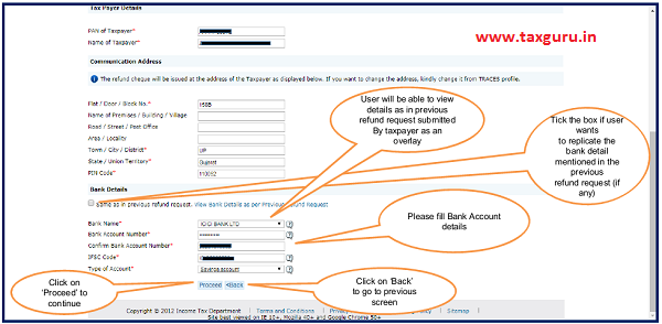 "Enter Bank Details and click on ""Proceed"" option"