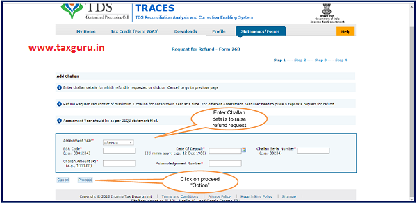 "Enter challan details and click on ""Proceed"""