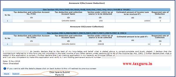 Form 13 details will appear on screen 2