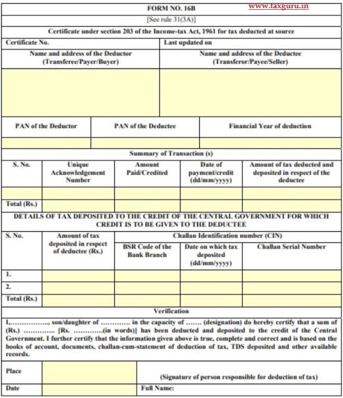 form 16b tds on property
