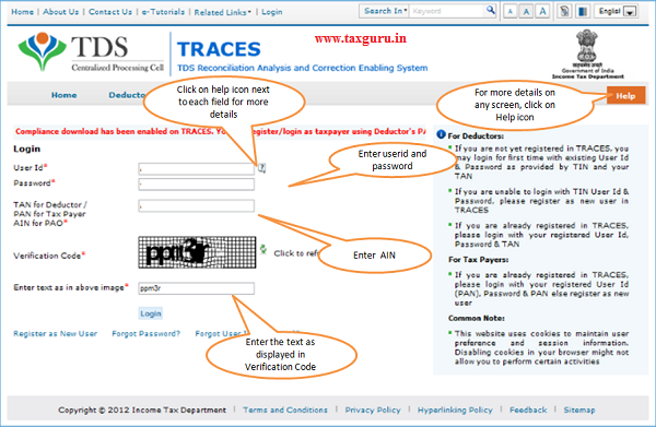 Login to TRACES as PAO