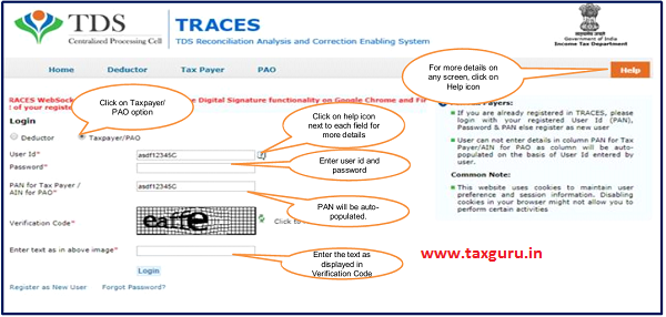 "Login to TRACES website with your ""User ID"", ""Password"" and the ""Verification Code"""