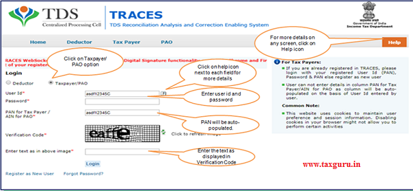 Login to TRACES website with your User ID Password