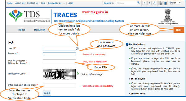 Login to TRACES