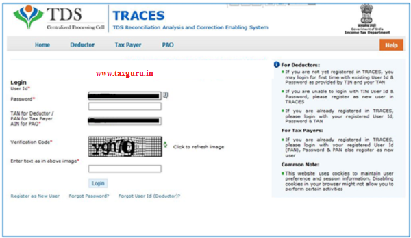 On click of E-verified button, user gets navigated to the TRACES website with the prepopulated username and PAN, User can login and Initiate 26QB correction