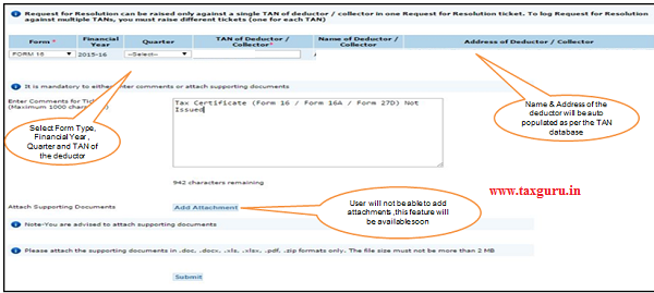 Raising  Request for Resolution Incase TDS Certificate (Form 16 16 A 27D) is not issued by the deductor (contd.)