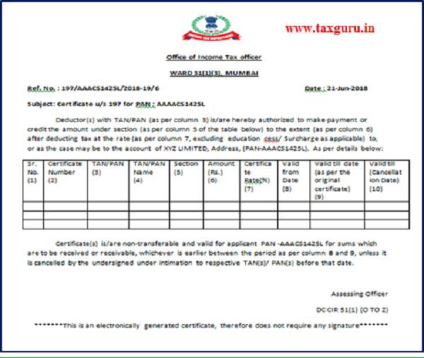 Sample of Certificate us 197