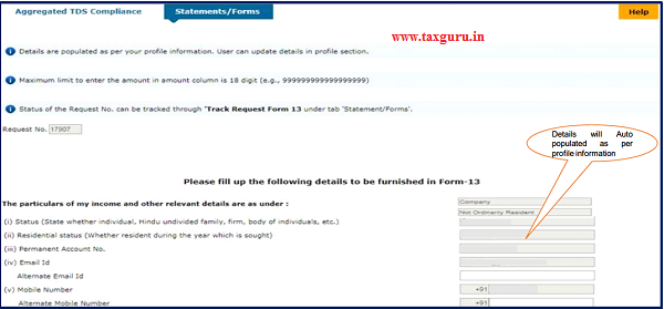 Some of the details will be populated as per profile information available on TRACES