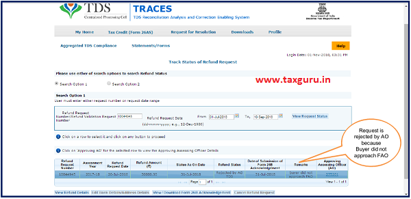 "Status will be rejected by AO TDS as ""Buyer did not approach FAO"""