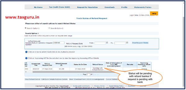 Status will pending with refund banker if request is pending with bank
