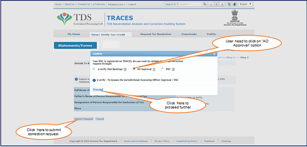 "Step 1 Click on ""AO Approval"" option if user want to do 26QB Correction with ""AO Approval"""