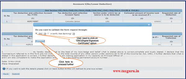 """Step 1 Click on """"DSC(Digital Signature Certificate)"""" option if user wants to validate the request"""
