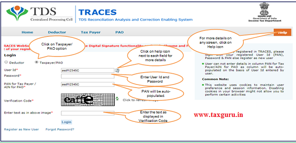 Step 1 Login to TRACES website