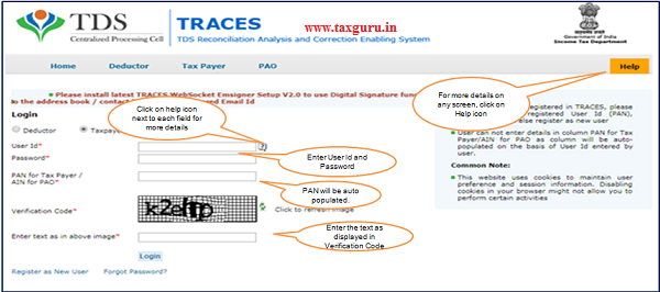 """Step 1 Login to TRACES website with """"User ID"""", """"Password"""" and the """"Verification code"""""""