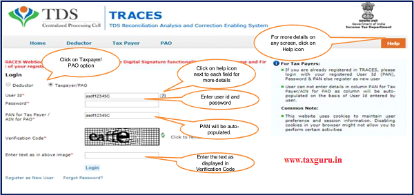 Step 1 Login to TRACES website with User ID, Password and the Verification code