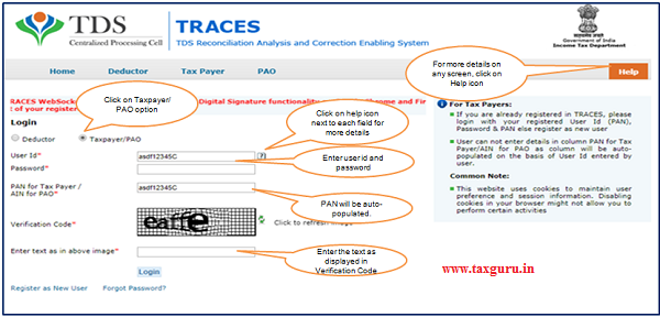 "Step 1 Login to TRACES website with your ""User ID"", ""Password"" and the ""Verification Code"""