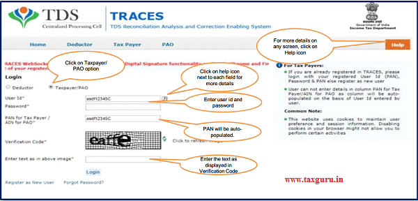 """Step 1 Login to TRACES website with your User ID, """"Password"""" and the """"Verification Code."""