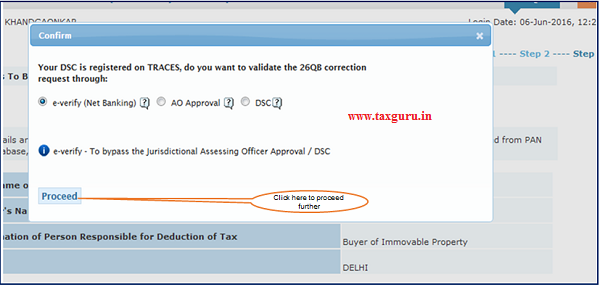 Step 1 User need to Click on E-Verified (Internet Banking) option