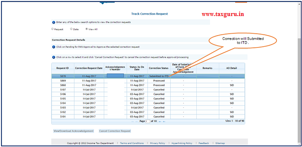 "Step 10 User can check submitted correction status under ""Track Correction Request"" option under ""StatementForms"""