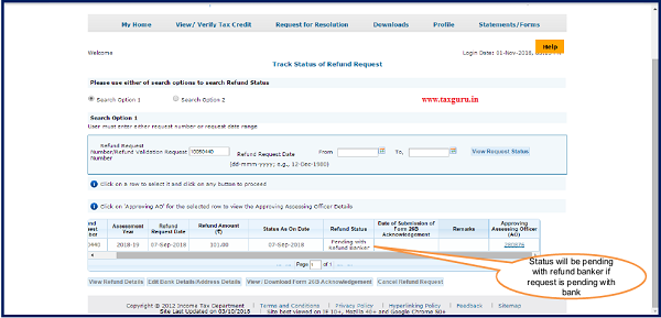 Step 11 (Contd.) Status will be 'Pending with Refund Banker