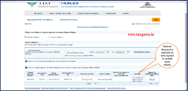 "Step 11 (Contd.) Status will be rejected as ""Time lapsed to update Invalid Bank Details"