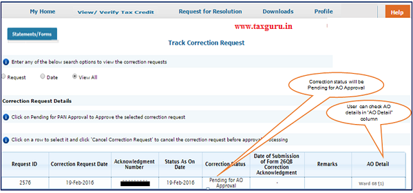"""Step 11 Correction status will be """"Pending for AO Approval"""". User can check AO details in """"AO Detail"""" column under """"Track Correction Request"""" option"""
