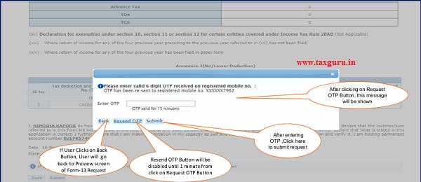 Step 13 Enter OTP received on Registered mobile number