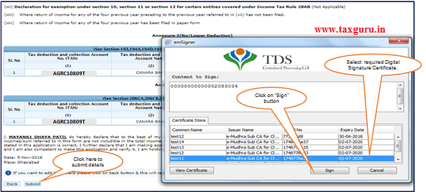 Step 2 After validating DSC(Digital Signature Certificate), Click on 'Submit'.