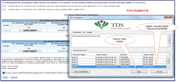 Step 2 After validating DSC(Digital Signature Certificate), Click on 'Submit