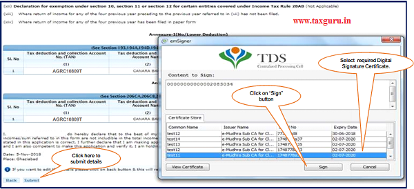 Step 2 After validating DSC(Digital Signature Certificate)