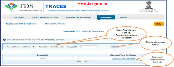 """Step 2 User need to select Financial Year & enter Form No. , then click on """"Proceed""""."""