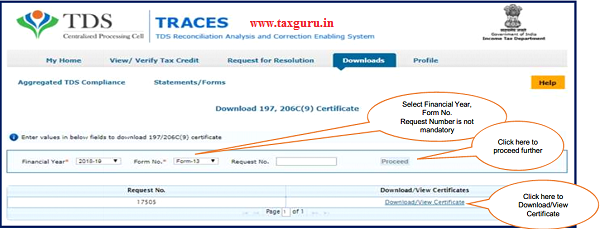 "Step 2 User need to select Financial Year & enter Form No. , then click on ""Proceed"""