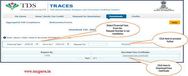 "Step 2 User need to select Financial Year & enter Form No. , then click on ""Proceed"