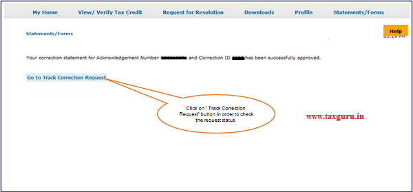 """Step 2(Contd.) """"Acknowledgement Number"""" and """"Correction ID"""" has been successfully approved message will pop-up."""
