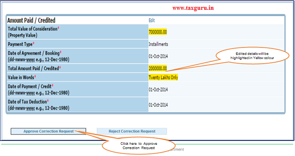 Step 2(Contd.) Click on Approve button to Approve Correction Request