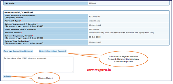 Step 2(Contd.) Click on Reject button to Reject Correction Request. 2