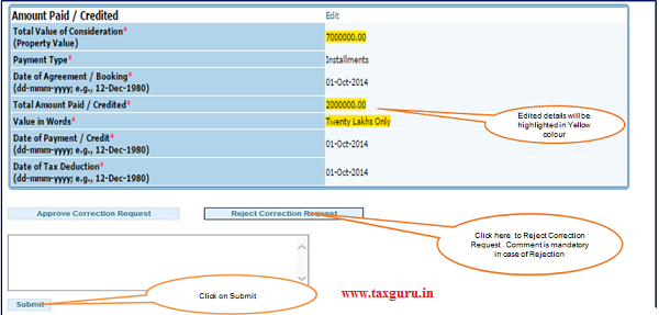 Step 2(Contd.) Click on Reject button to Reject Correction Request.