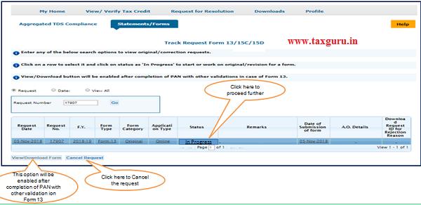 "Step 3 (Contd.) Go to "" Track Request Form-13"" option under ""StatementsForms"""