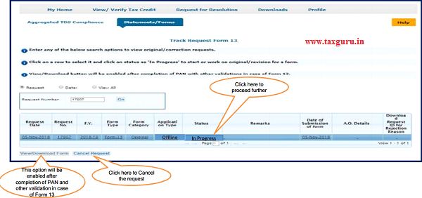 "Step 3 (Contd.) Go to "" Track Request Form-13"" option under"