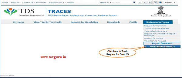 "Step 3 (Contd.) Go to "" Track Request Form-13"