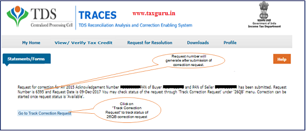 Step 3 (Contd.) Request number will generate after submission of Correction Request image 2