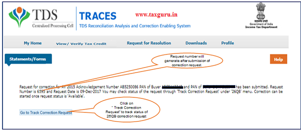 Step 3 (Contd.) Request number will generate after submission of Correction Request