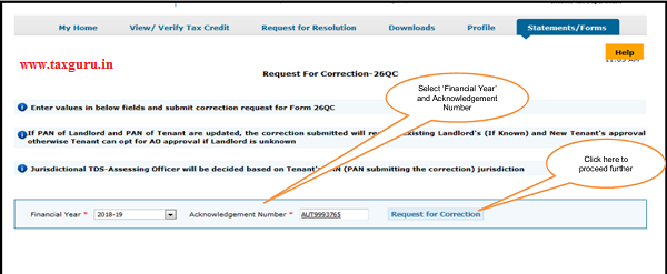 "Step 3 Select ""Financial Year"" and ""Acknowledgement Number"