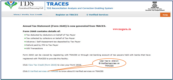 """Step 3 User will log in to Bank website and selects option """"Click of view 26AS"""" then It gets navigated to a new page which shows link """"E-Verified services on TRACES"""""""