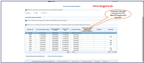 "Step 3(Contd.) User can check submitted correction status under ""Track Correction Request"" option under ""Statements Forms""."