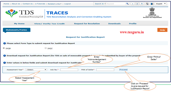 Step 4 Select Assessment Year from drop down list enter Acknowledgement Number and PAN of the Seller