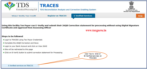 "Step 4 User need to Click on ""E-Verified Services on Traces"" under ""E- Verified Services Tab"