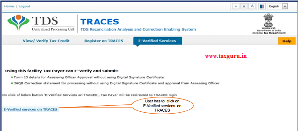 "Step 4 User need to Click on ""E-Verified Services on Traces"" under ""E- Verified Services"