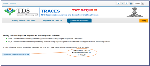 """Step 4 User need to Click on """"E-Verified Services on Traces"""""""