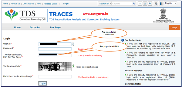 Step 5 After clicking on E-Verified Services on Traces, user gets navigated to the TRACES website with the Pre populated Username and PAN. User can login and continue 26QB correction.